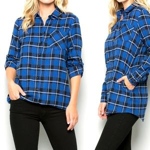Tops - BOGO🏷  Plaid Button-Down Long-Sleeved Tunic
